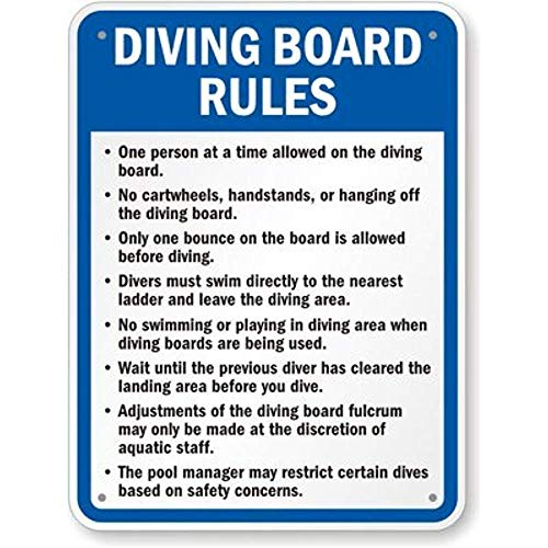 - Joycenie New Aluminum Metal Sign Road Sign Diving Board Rules Sign 8x12 Inch