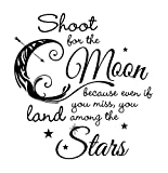 Shoot for the moon, land among the stars quote - Small, Black - Vinyl Wall Art Decal for Homes, Offices, Kids Rooms, Nurseries, Schools, High Schools, Colleges, Universities, Interior Designers, Architects, Remodelers
