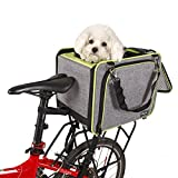 Petsfit Dog Rear Bicycle Carrier For Pet Under 15 LBS With Big Side Pockets Color Grey And Green Trim