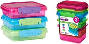 Sistema Lunch Collection Food Storage Containers, 1.9 Cup, 3 Pack, Blue/Green/Pink & Lunch Collection Food Storage Containers, 1.6 Cup, 3 Pack, Blue/Green/Pink | BPA Free, Reusable