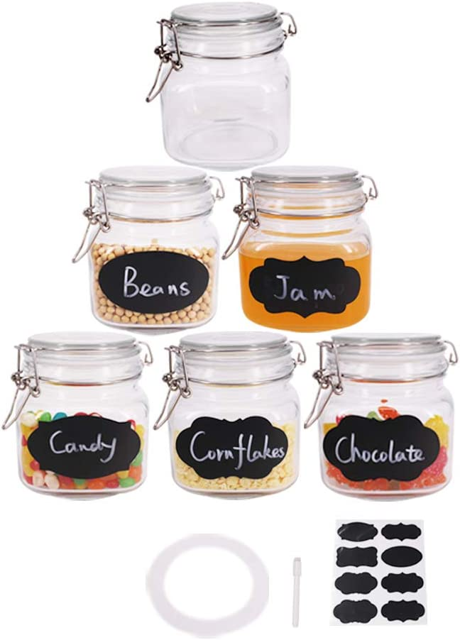BPFY 6 Pack 25 oz Wide Mouth Mason Jars with Hinged Lids, Glass Jars with Airtight Lids and Rubber Seal for Food Storage, Cereal, Pasta, Sugar, Beans, Kitchen Canisters, 8 Chalk Labels, 1 Pen