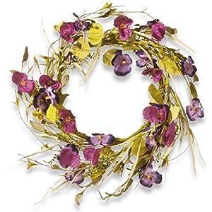 Silk Flower Arrangements National Tree 22 Inch Floral Wreath with Purple Poppy and Pansy Flowers (RAS-JXW9483)