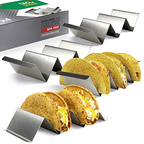 Taco Holder Set of 4 - Stainless Steel Taco Stand - Dishwasher & Oven Save - Easy To Fill Taco Rack And Perfect To Keep Your Delicious Tacos ()