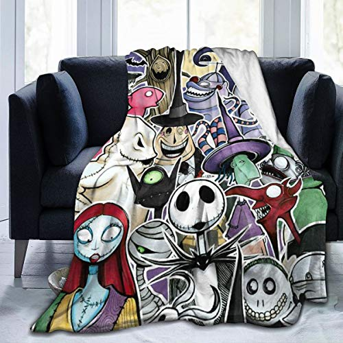 "Nightmare Before Christmas Ultra Soft Throw Blanket Flannel Fleece All Season Light Weight Living Room/Bedroom Warm Blanket,Black,50"""" x40"
