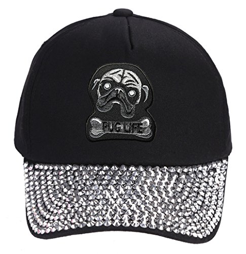 Pug Life Hat - Black Rhinestone Adjustable Womens - Dog Owner Lover Cap
