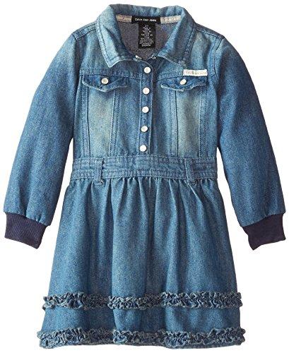 Calvin Klein Little Girls' Denim Dress With Long Sleeves, Blue, 5