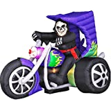 7 Ft. Long - Gemmy Halloween Airblown Inflatable - Skeleton on Trike