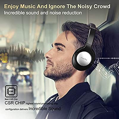 Bluetooth Headphones, Wireless Headphones Over Ear Headphone, HiFi Stereo Bluetooth Headset with Microphone CSR Wireless/Wired Headphone Foldable Premium Comfort 40H Playtime (Black)
