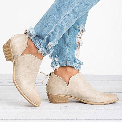 Leder Blockabsatz Mode Ankle Schuhe Stiefel Winterschuhe Boots Martin Herbst Damen Frauen Boot Segelschuhe ABsoar Stiefel Kurze Beige Schuhe n6znUqBwf