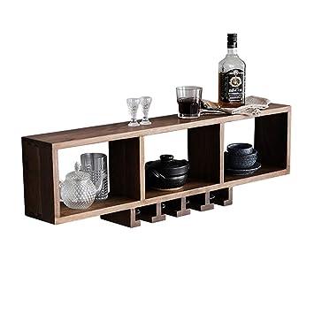 Muebles de Bar Gabinete de Vino montado en la Pared Botellas de Vino y Porta Vasos