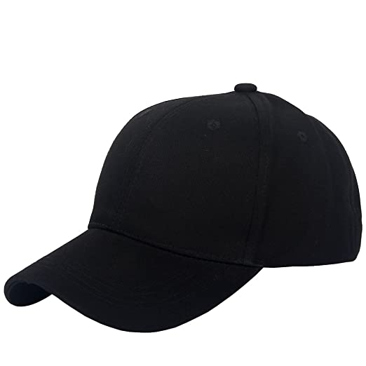 E-FOREST Plain Cotton Baseball Cap Black Hat With Flex Fit Elastic Band  (Adult 87d2fa8fce8