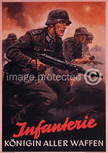 - American Gift Services Infanterie Konigin Aller Waffen German World War Two Poster Art 24x36
