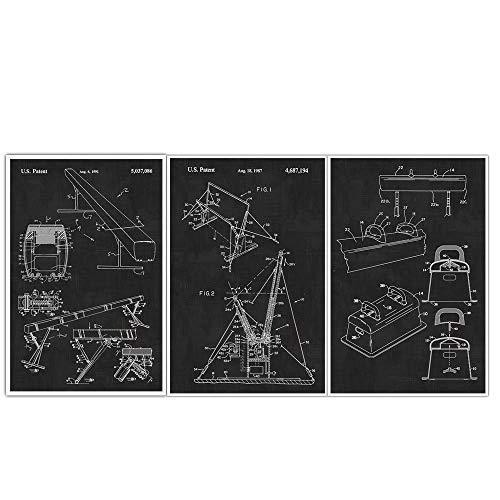 - Balance Beam, Pummel Horse, Uneven Bar Gymnastics Blueprint Patent Print Poster - Set of 3