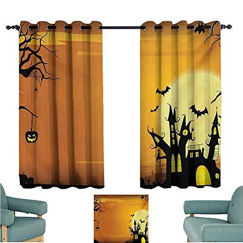DONEECKL Warm Curtain Halloween Gothic Haunted House Bats