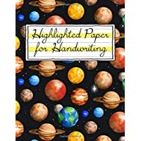 Highlighted Paper for Handwriting: Space Themed Yellow Highlighter
