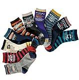Boys Short Socks Fashion Cartoon Numeral Cotton Basic Crew Kids Socks 10 Pair Pack