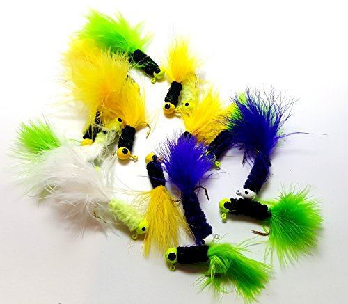 RAH Crappie Jigs (20 Pack) Assorted Colors - Lead Head Hook With Marabou & Chenille For Bass Pike Walleye Fishing Jig With Feather - Fishing Hard Lure Accessory - Ice Fishing Jigs (1/32 Oz, 20 Pcs)
