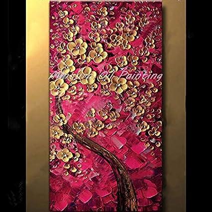 Yhysj Peint à La Main Fleur Peinture à L Huile Moderne