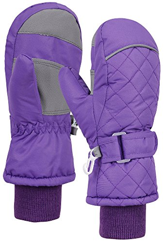 ANDORRA Kid's Premium Quilted Weather-proof Thinsulate Ski Mittens, Longer Snow Cuff,L,Pink