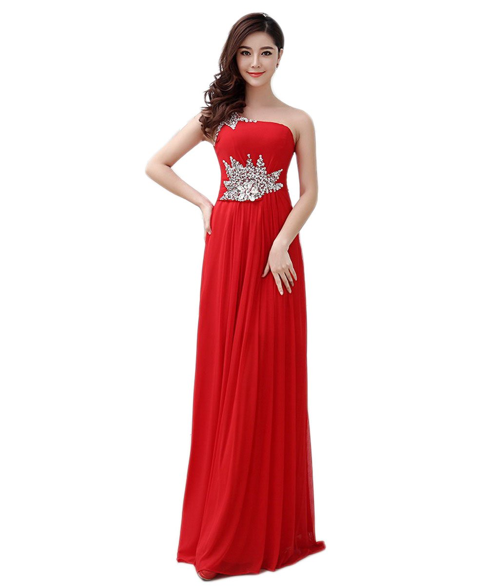VogueZone009 Womens Sleeveless Chiffon Formal Dresses with Glass Diamond, Red, 18