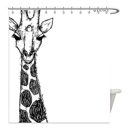 Wild West Costume Ideas Diy (Liguo88 Custom Waterproof Bathroom Shower Curtain Polyester House Decor Cute Graphic of Safari Giraffe with His Tall Neck and Spots West African Wild Character Decor Black White Decorative bathroo)