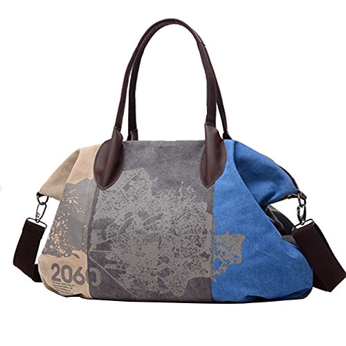 Mulit Hobo Chikencall Pocket Bags Canvas Handle Bags Women Shoulder capacity Blue Handbag Shopping Shopper Top Messenger Ladies Vintage Graffiti and Daily Purse Casual Large Tote Purse vYBzv
