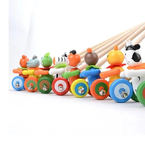 Kids Push Pull Toys Lovely Animal Tolley Toy Pre-Walking Walker Children Educational Toys,Perfect Gift for Toddler