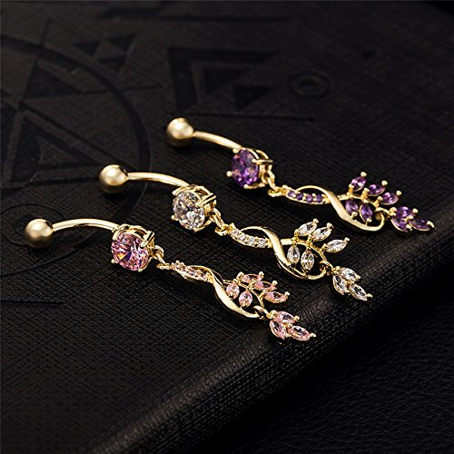 SMILE Flower Multi Color Sapphire Zircon Drop Bell Button Ring Dance Sexy Gold Navel Ring Piercing Body JewelY-00