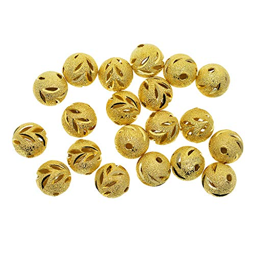 Stardust Plated Gold Spacer - Homyl 20pcs Gold Plated Round Stardust Ball Spacer Beads 12mm DIY Jewelry Findings - Gold, Leaves
