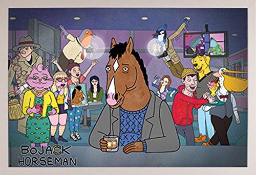 BoJack Horseman - Dive Bar Poster in a White Plastic Frame