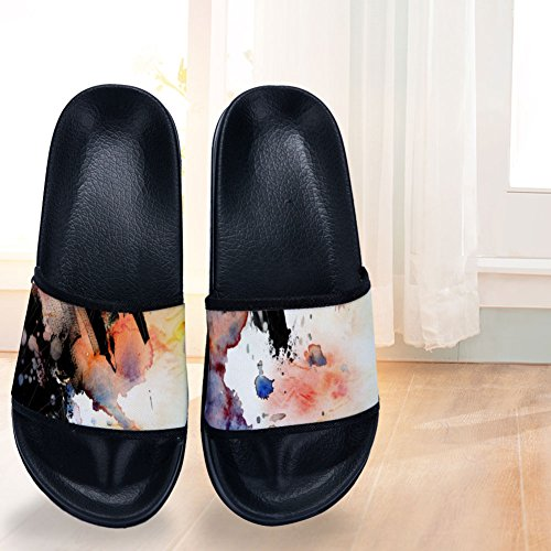 Quick for Two Black Slip Drying Non Womens Smudge Paiting Buteri Ink Different Sides Watercolor Slippers Slippers OZ1xFdqvn
