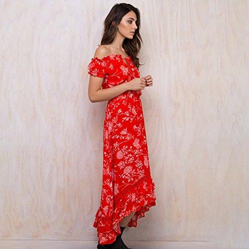 Estampado red De Corta Meizizivestido Vestido Rojo De MeiZiZi Casual Noche Manga Vestido 10AqPw