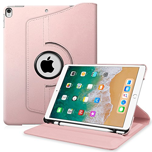 Fintie iPad Pro 10.5 Case with Built-in Apple Pencil Holder - 360 Degree Rotating Stand Protective Cover with Auto Sleep/Wake Feature for Apple iPad Pro 10.5 inch 2017, Rose Gold