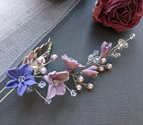 Bridal Hair pin with purple flowers, beads and crystals Delicate mesmerizing hairpiece, versatile floral design headpiece