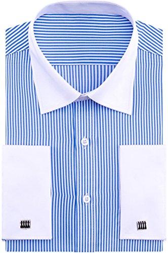 Alimens & Gentle French Cuff Regular Fit Contrast White Collar Dress Shirts,Light Blue Stripe,15.5