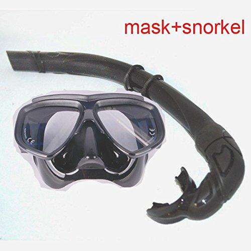 Ultra Low Volumen schwarz Tauchen Maske Erwachsene Scuba Mask Optische Linse aus Sekuritglas Schnorcheltasche Freedive Maske und Gartenschlauch Flexable Silikon Schnorchel Set Black2