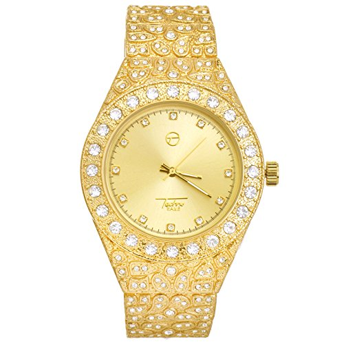 Men's Lab Diamond Bling Gold Nugget Plated Metal Band Watches WM 8717 G