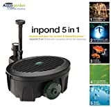 Aquagarden Water Pump for Ponds | Submersible Water Pump | Fountain Pump 5 in 1 Solution for Clear Beautiful Ponds | Small Ponds up to 200 Gallons