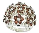 Gemsonclick Natural Garnet Ring 925 Silver Birthstone Round Cluster Style Handmade Size 5,6,7,8,9,10,11