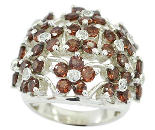 (Gemsonclick Natural Garnet Ring 925 Silver Birthstone Round Cluster Style Handmade Size 5,6,7,8,9,10,11)