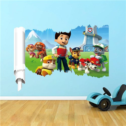 Nickelodeon Paw Patrol Gang Ripping Through The Wall| 3D Removable Wall Sticker/Decal for Kids Rooms