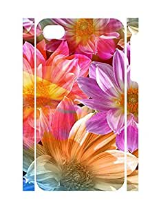 Artistic Personalized Trendy Flower Pattern Rugged Phone Aegis for Iphone 4 4S