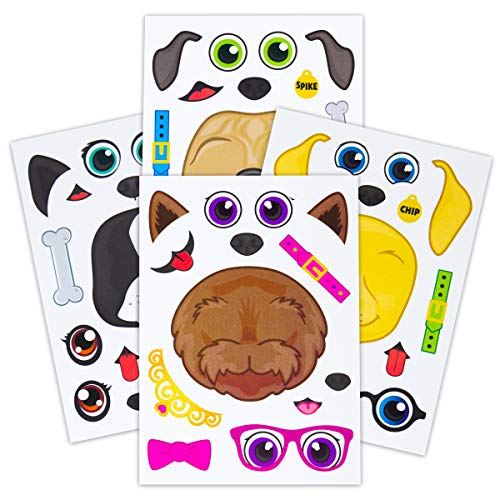 Face Dog Set - 24 Make A Dog Stickers For Kids - Great For Birthday Party Favors - Fun Craft Project For Children 3+ - Let Your Kids Get Creative & Design Their Favorite Puppy Stickers