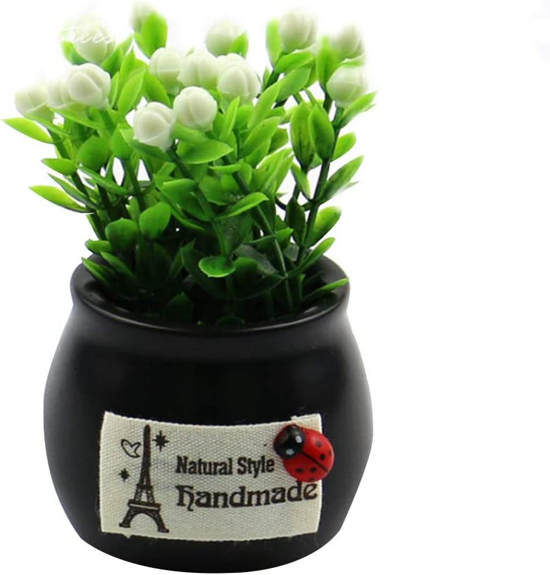JIESD-Z - Maceta de Flores Artificiales, Mini Plantas Artificiales de plástico, césped Verde Artificial de Plantas con macetas para decoración del hogar, Oficina o Coche, Negro, 5.5 X 9 CM: Amazon.es: Hogar