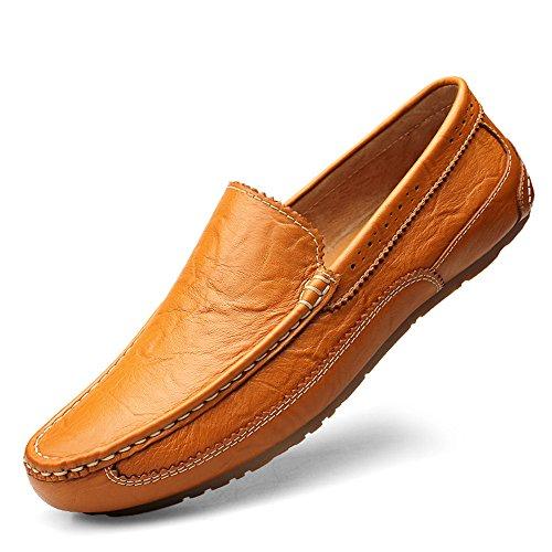 Dimensione Edge on Business Marrone EU Wing Xiazhi Bare Mocassini formale Mocassini uomo Color da shoes Flat Sole leggeri Vamp Slip Nero Soft tip 45 ZzwZqPR