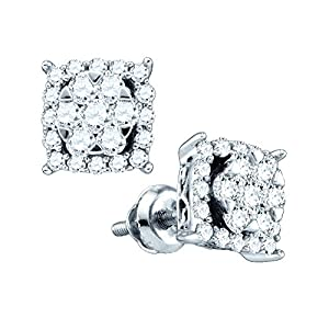 10kt White Gold Womens Round Diamond Square Cluster Earrings 5/8 Cttw