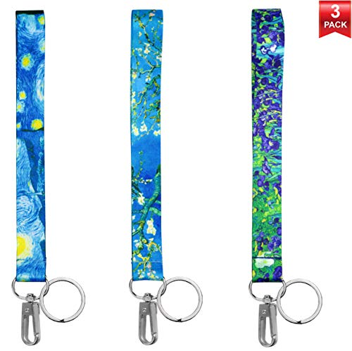 Wrist Keychain Lanyard for Keys, Phones, Wallets, USB, ID Badges. Keychain Holder Key Fobs Wristlet Strap. Cool Accessory for Women & Stylish Men. 3 Pack Assorted Designs. Van Gogh Collection. ()