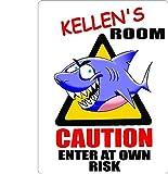 KELLEN Caution enter Shark Kids room door décor sign 7''X10'' PLASTIC.