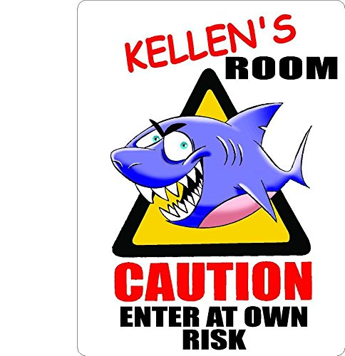 KELLEN Caution enter Shark Kids room door décor sign 7''X10'' PLASTIC. by Any and All Graphics