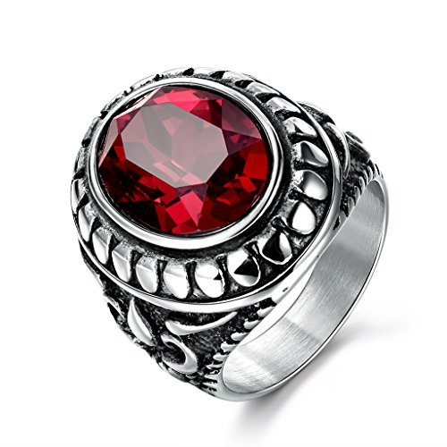 MASOP Antique Engraved 316L Stainless Steel Mens Ring with Red Garnet Ruby Color Stone Silver Color